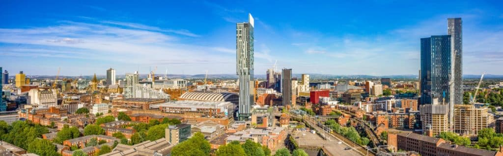 Extremely wide panoramic aerial shot on a beautiful summer day during lock-down in Manchester UK